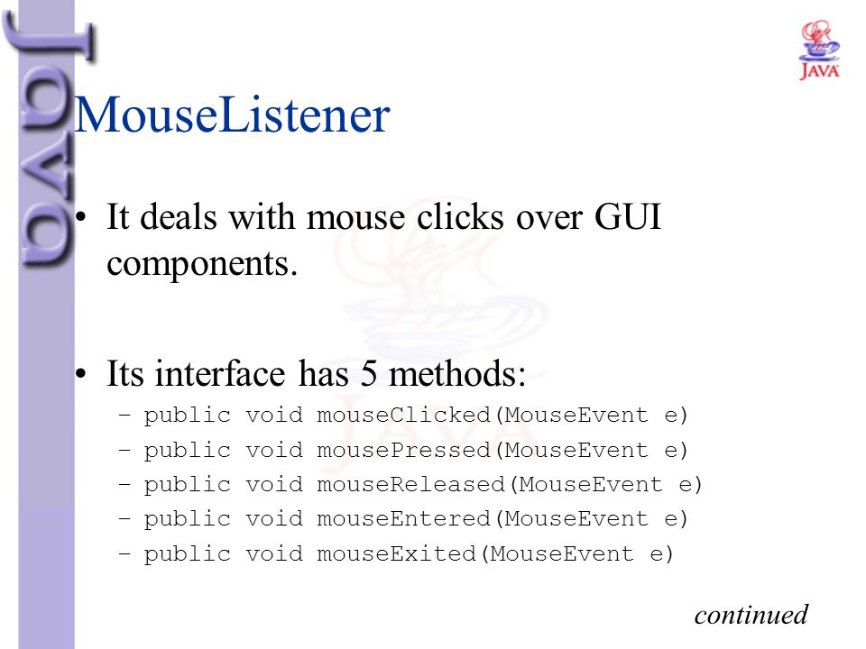 MouseListener It deals with mouse clicks over GUI components.