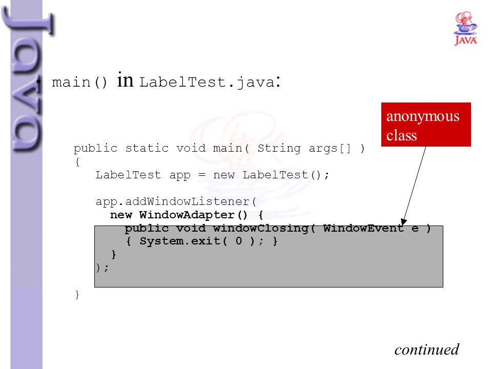 main() in LabelTest.java: