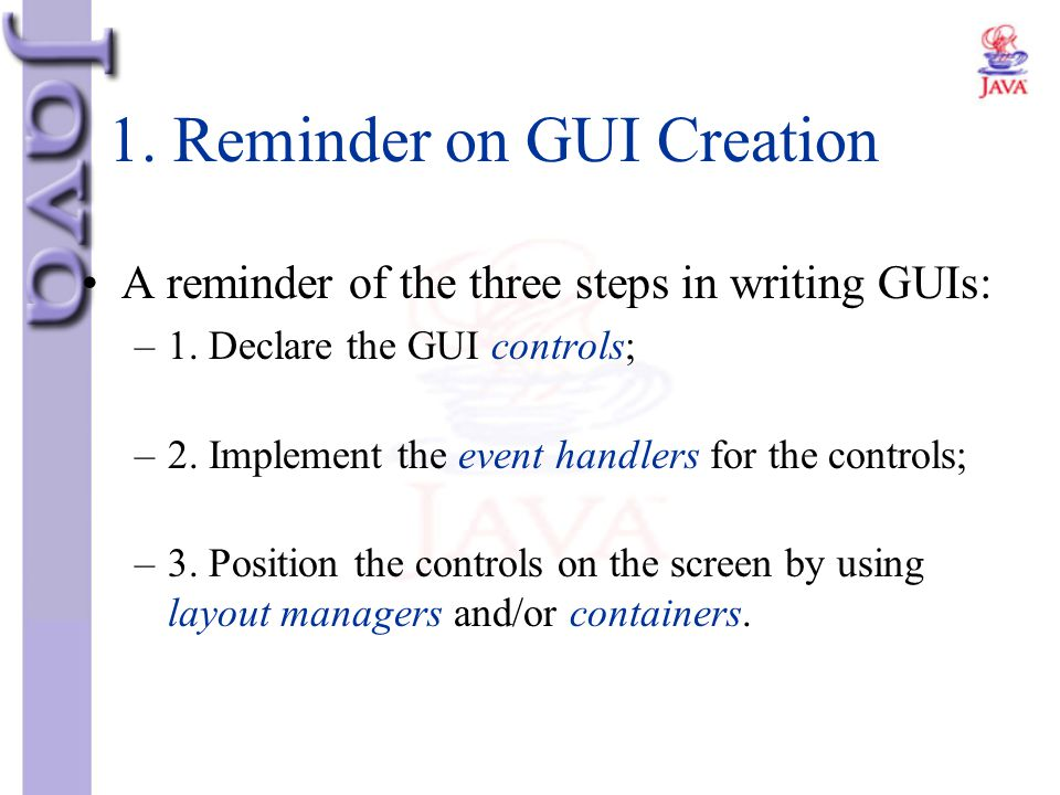 1. Reminder on GUI Creation