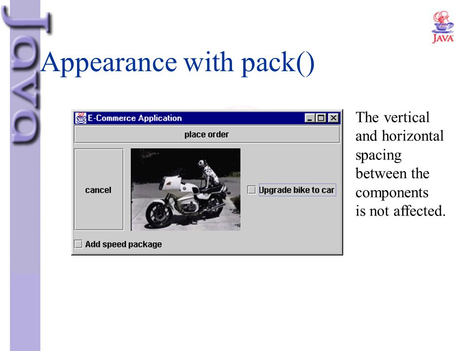 Appearance with pack()