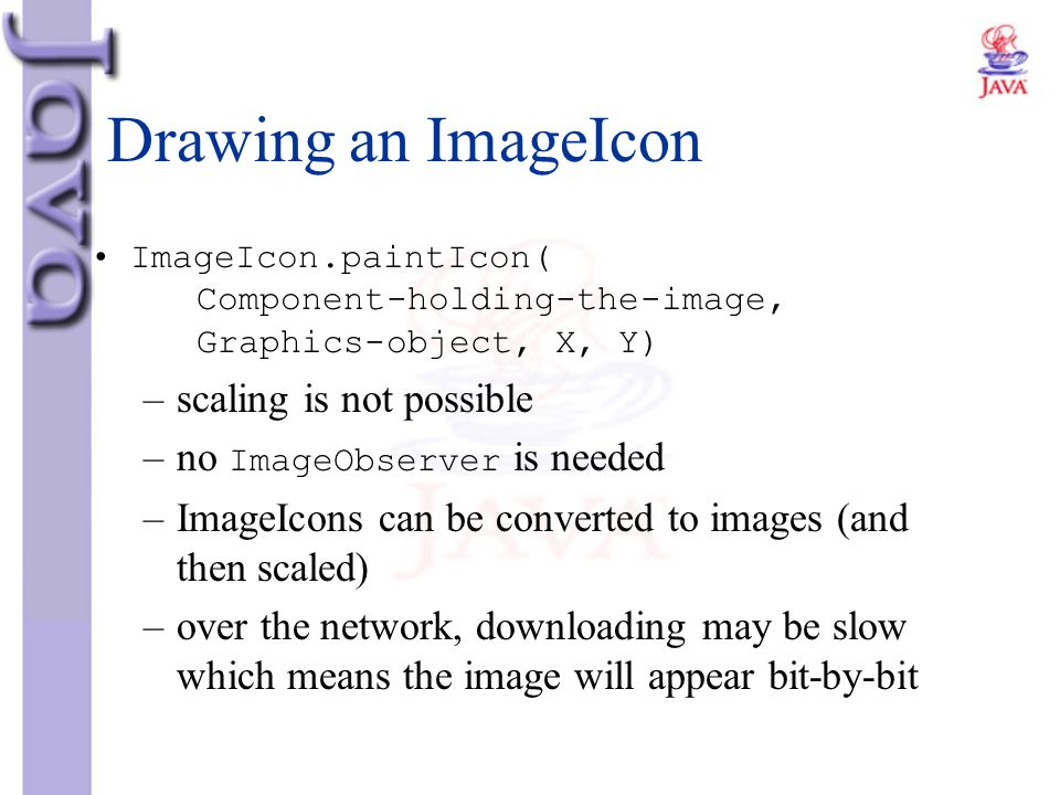 Drawing an ImageIcon scaling is not possible