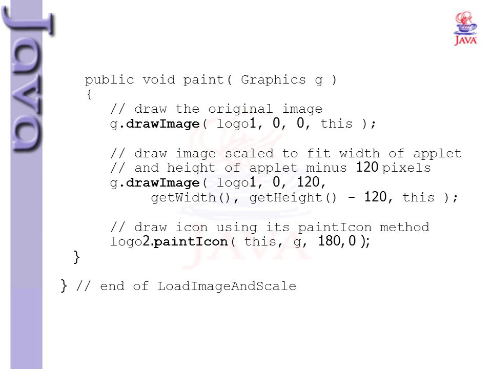 public void paint( Graphics g ) { // draw the original image g