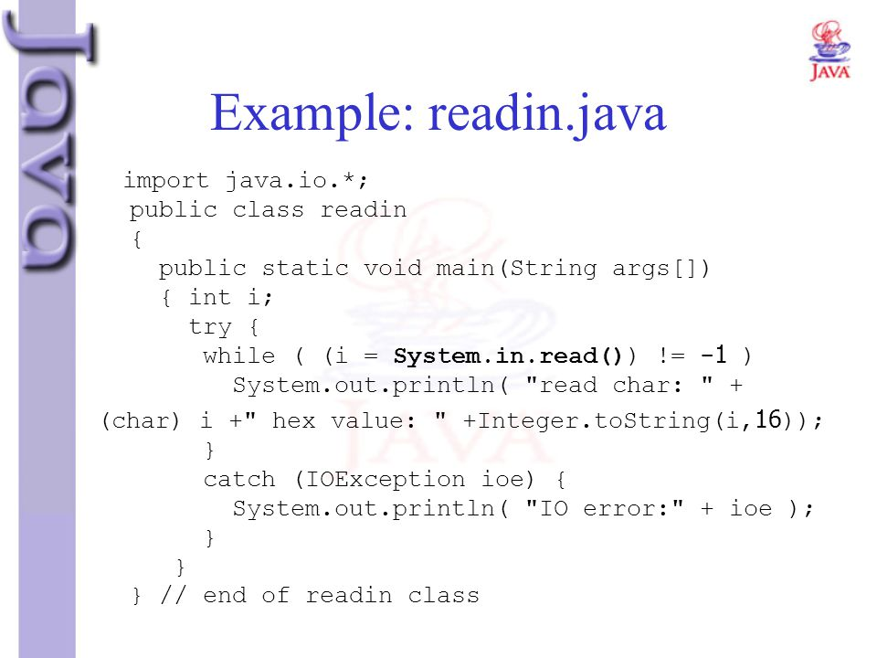 Example: readin.java