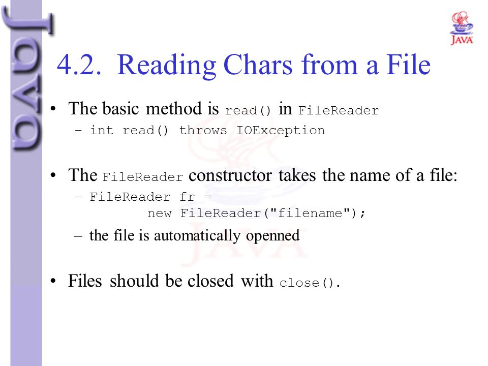 4.2. Reading Chars from a File