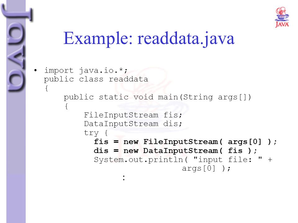 Example: readdata.java