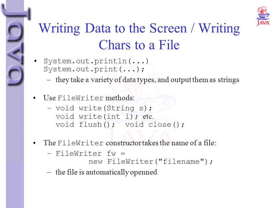 Writing Data to the Screen / Writing Chars to a File