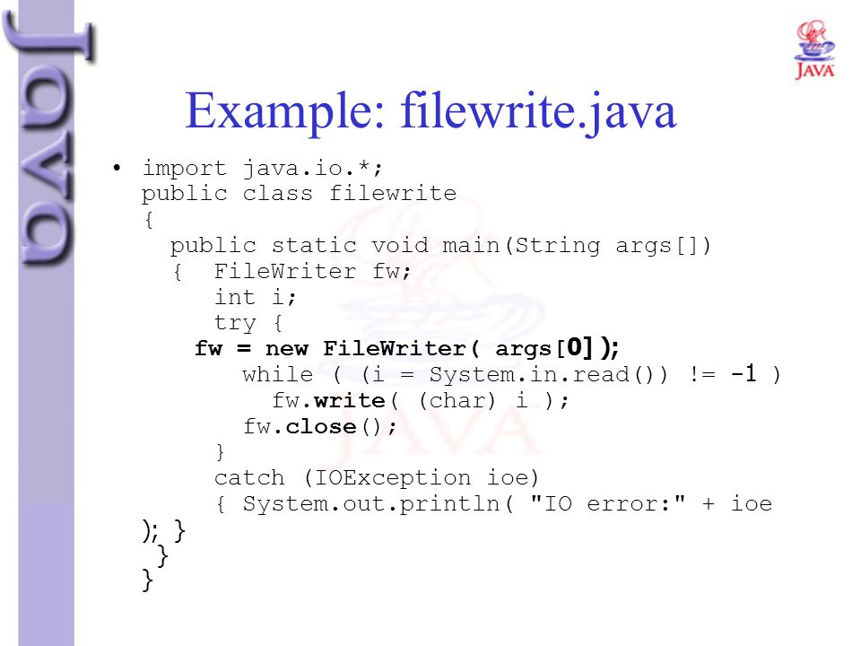 Example: filewrite.java