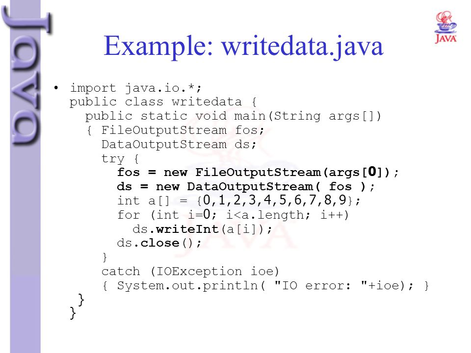 Example: writedata.java