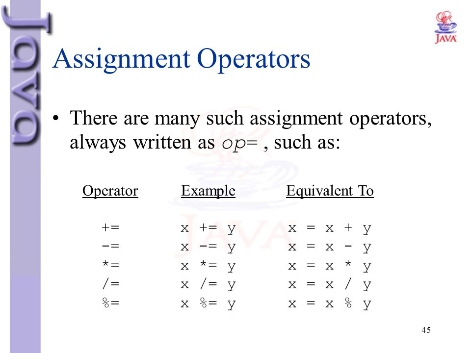 Assignment Operators There are many such assignment operators, always written as op= , such as: Operator.