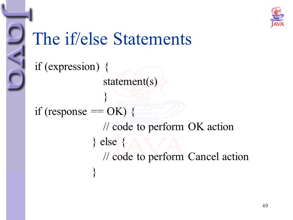 The if/else Statements
