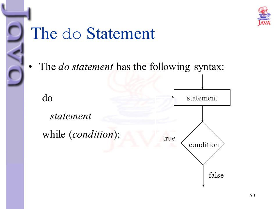 The do Statement The do statement has the following syntax: do