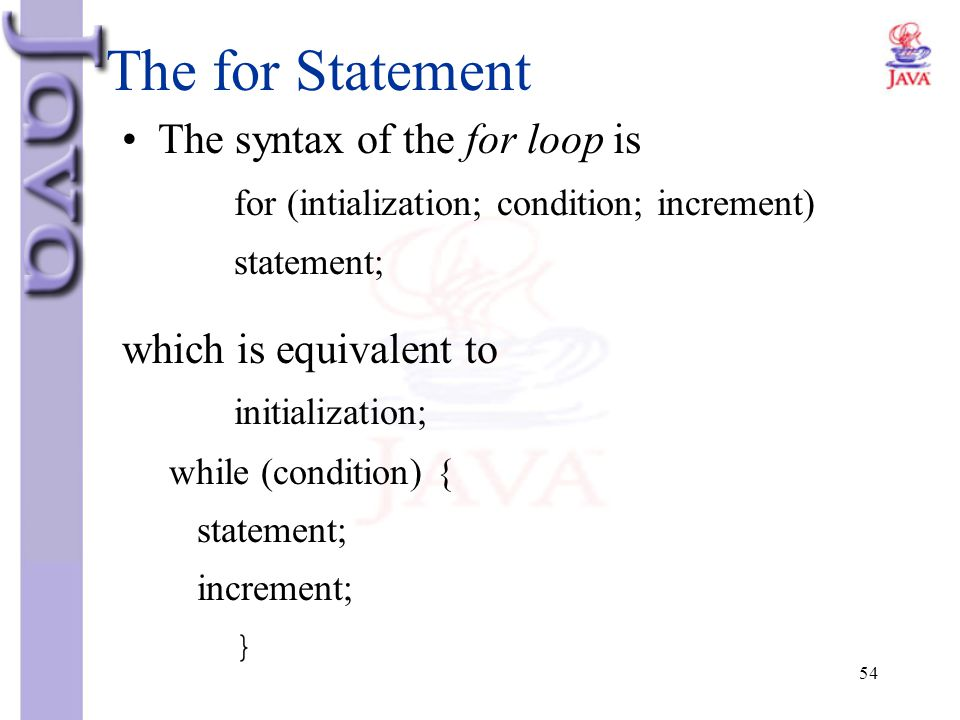 The for Statement The syntax of the for loop is which is equivalent to