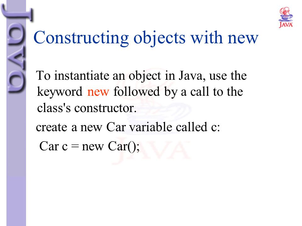 Constructing objects with new