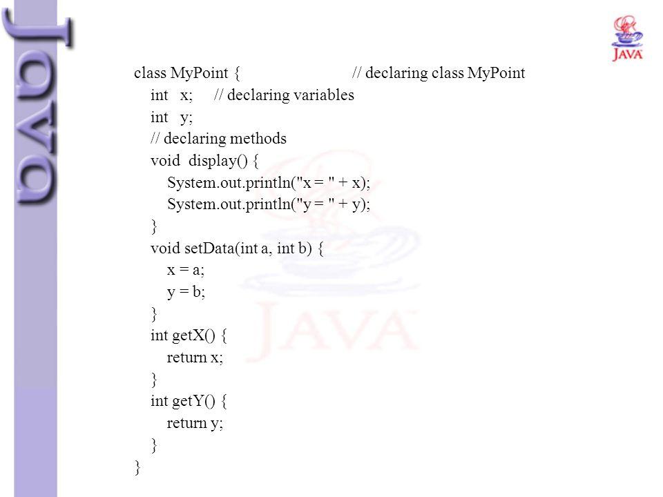 class MyPoint { // declaring class MyPoint