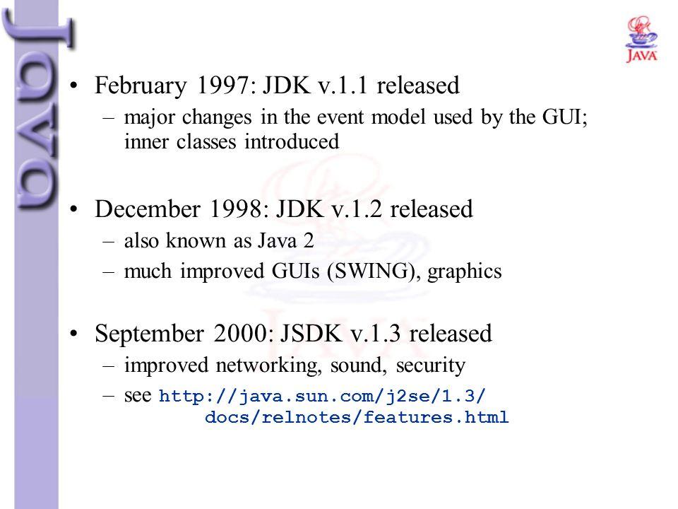 February 1997: JDK v.1.1 released