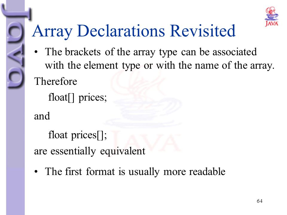 Array Declarations Revisited