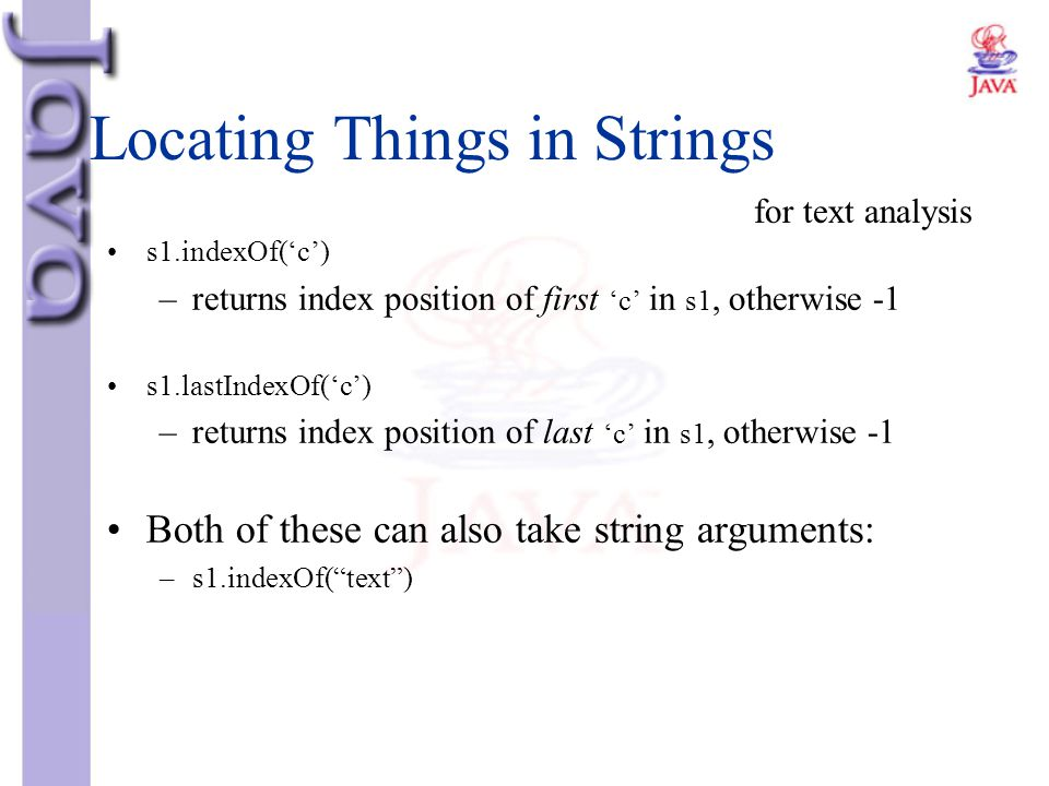 Locating Things in Strings