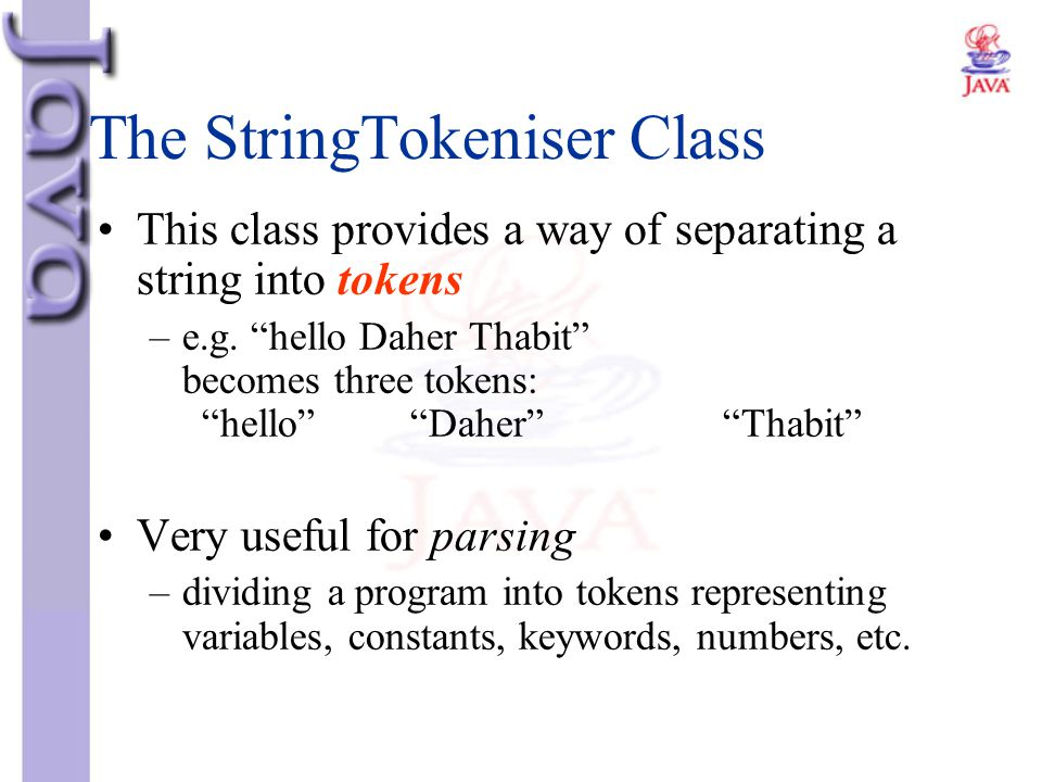 The StringTokeniser Class