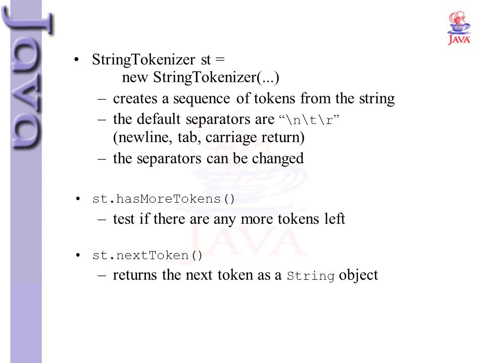 StringTokenizer st = new StringTokenizer(...)