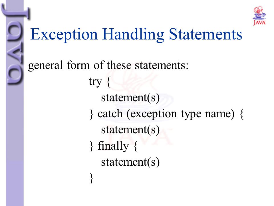 Exception Handling Statements