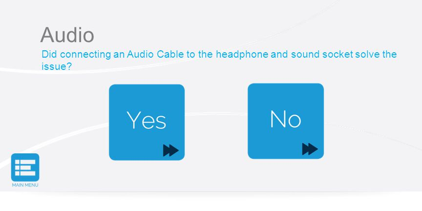 Audio Did connecting an Audio Cable to the headphone and sound socket solve the issue