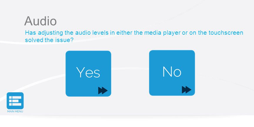 Audio Has adjusting the audio levels in either the media player or on the touchscreen solved the issue