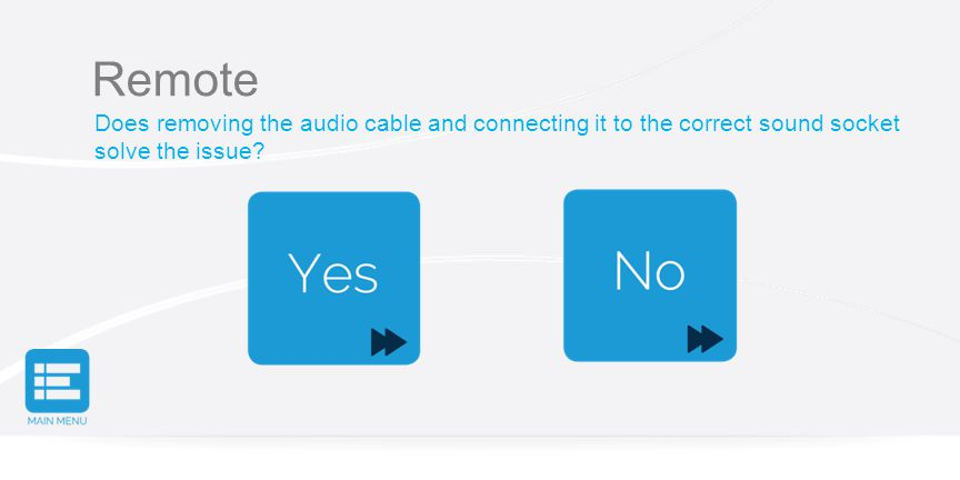 Remote Does removing the audio cable and connecting it to the correct sound socket solve the issue