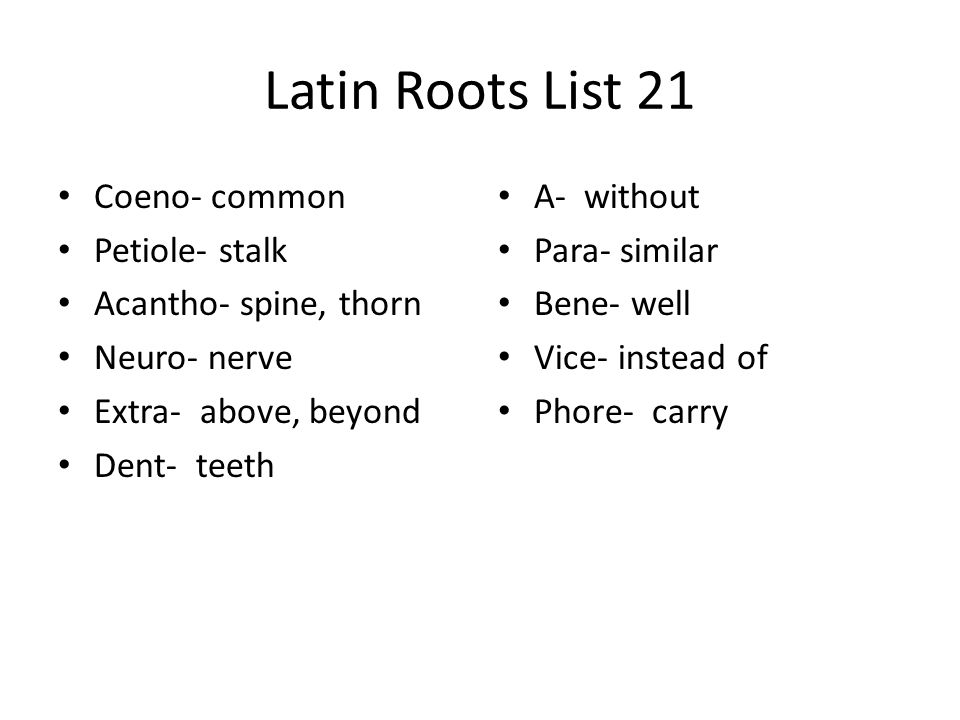 Latin Roots List 21 Coeno- common Petiole- stalk Acantho- spine, thorn