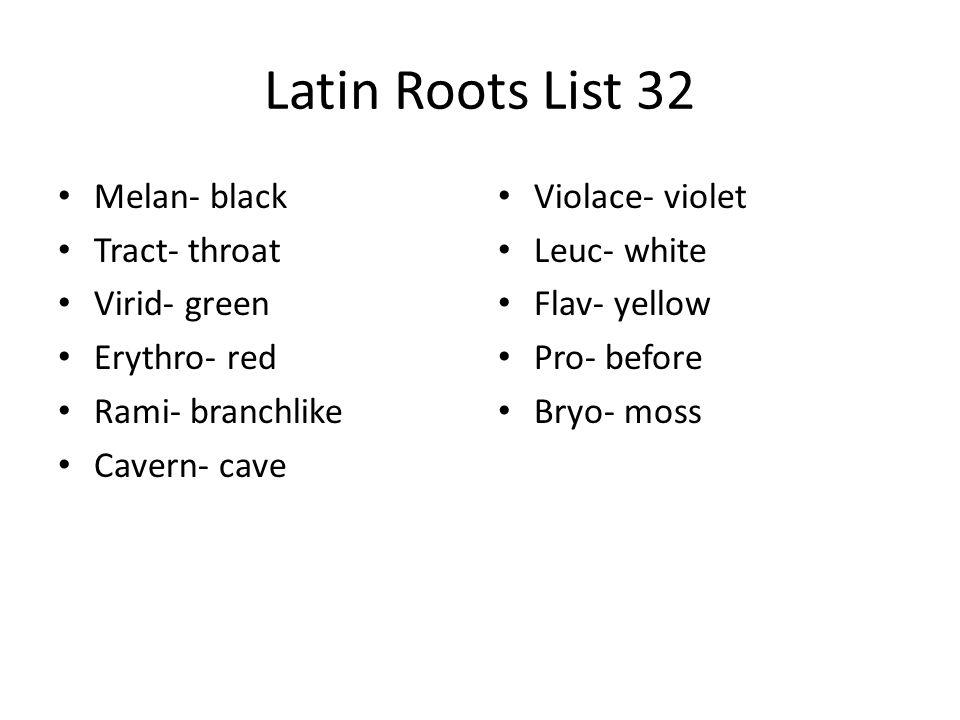 Latin Roots List 32 Melan- black Tract- throat Virid- green