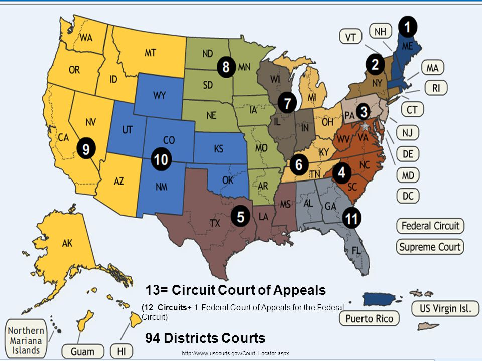US Federal Courts 13= Circuit Court of Appeals 94 Districts Courts