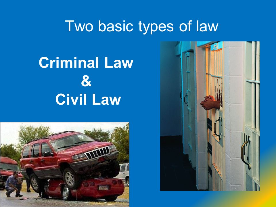 Two basic types of law Criminal Law & Civil Law