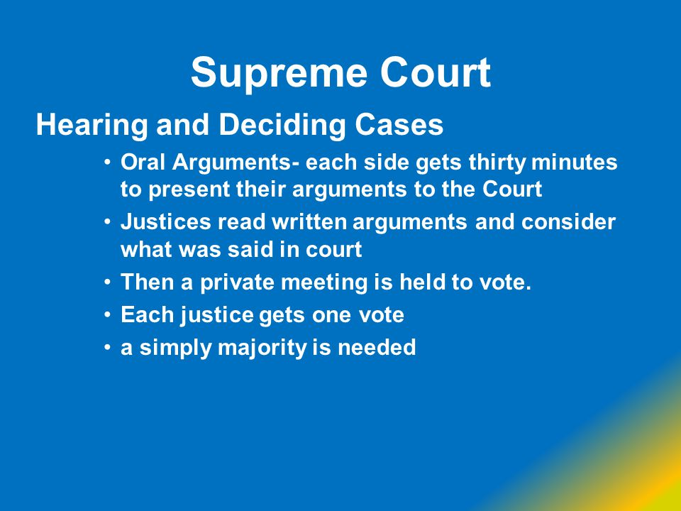 Supreme Court Hearing and Deciding Cases