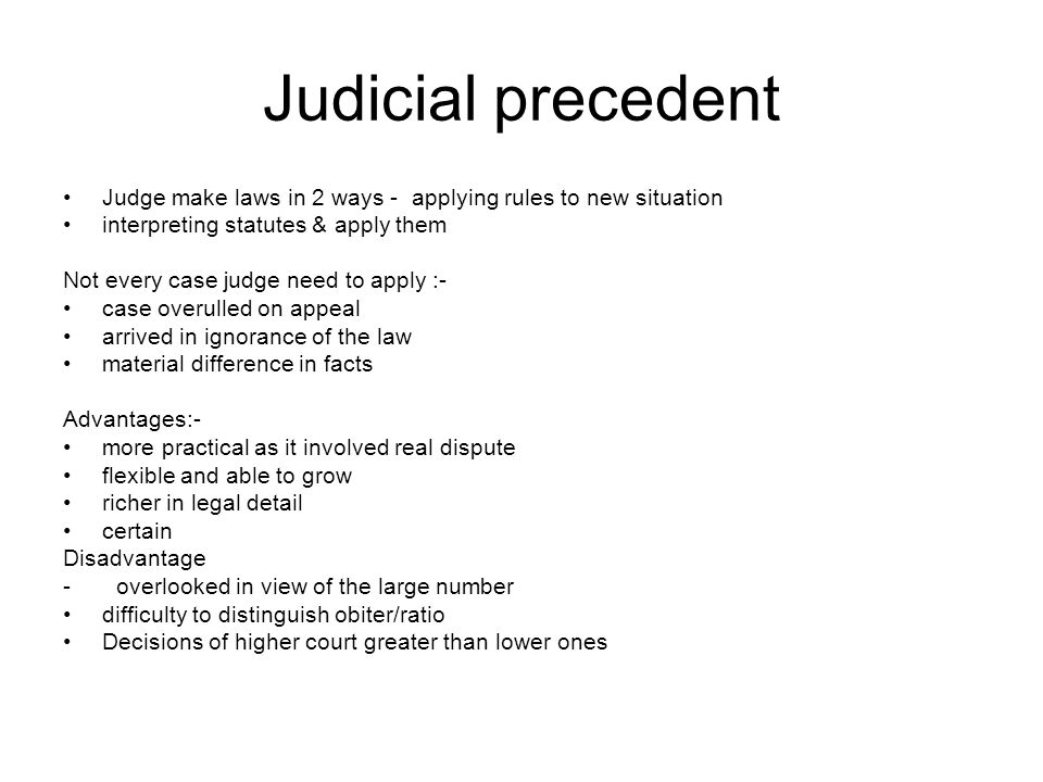 judicial precedent in the english legal In order for the doctrine of judicial precedent  the legal principle which is a binding precedent meaning it must be  merely persuasive on the english.