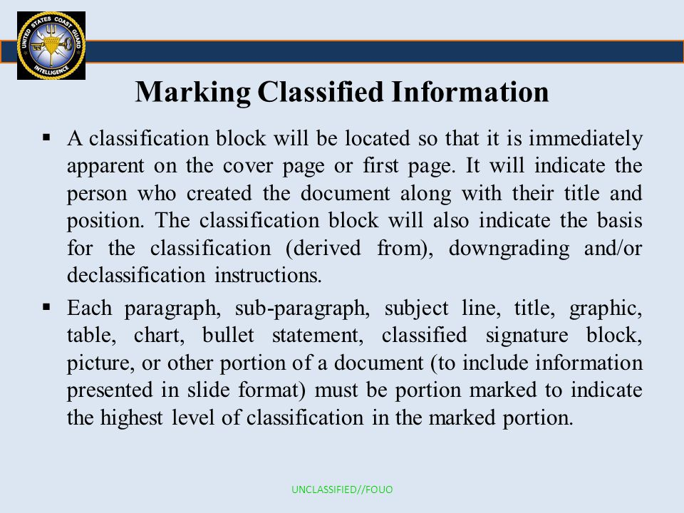 Marking Classified Information