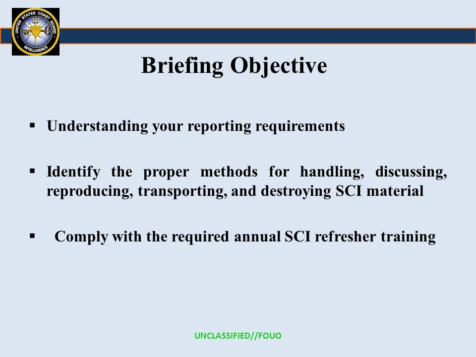 Briefing Objective Understanding your reporting requirements