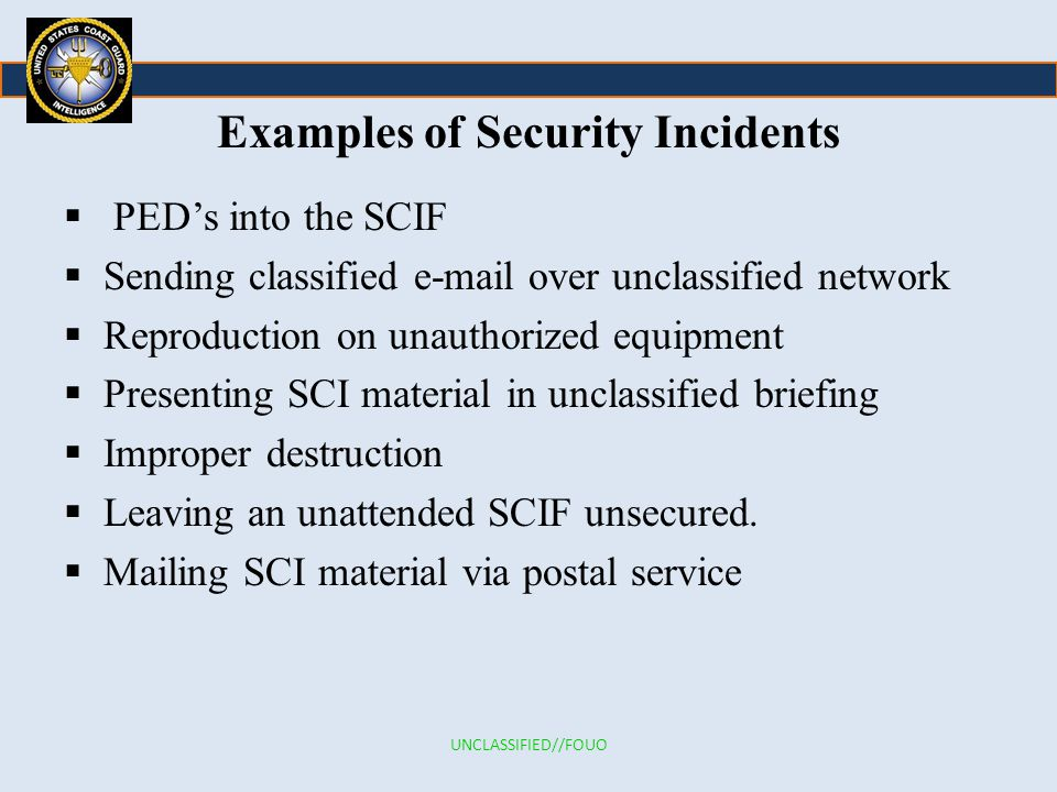 Examples of Security Incidents