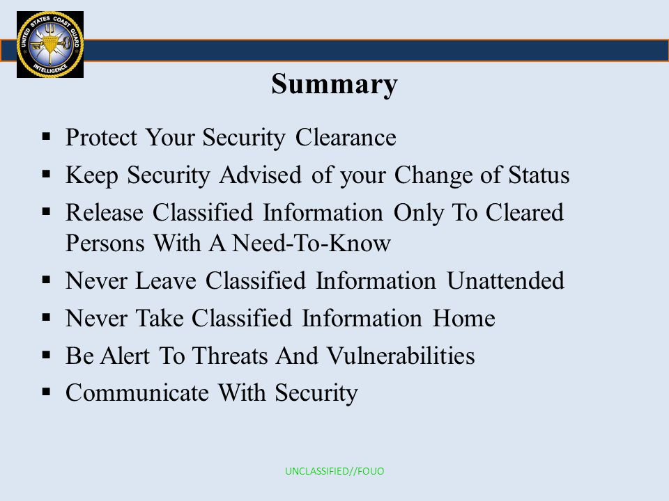 Summary Protect Your Security Clearance