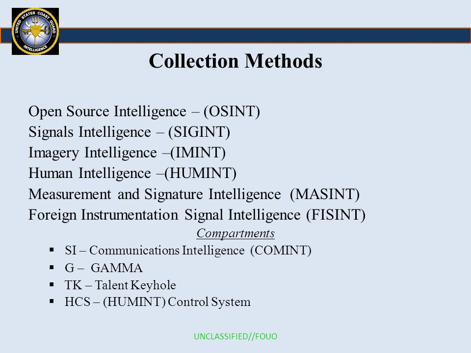 Collection Methods Open Source Intelligence – (OSINT)