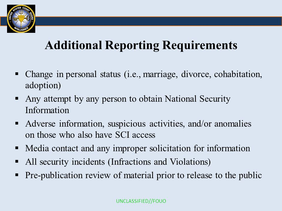 Additional Reporting Requirements