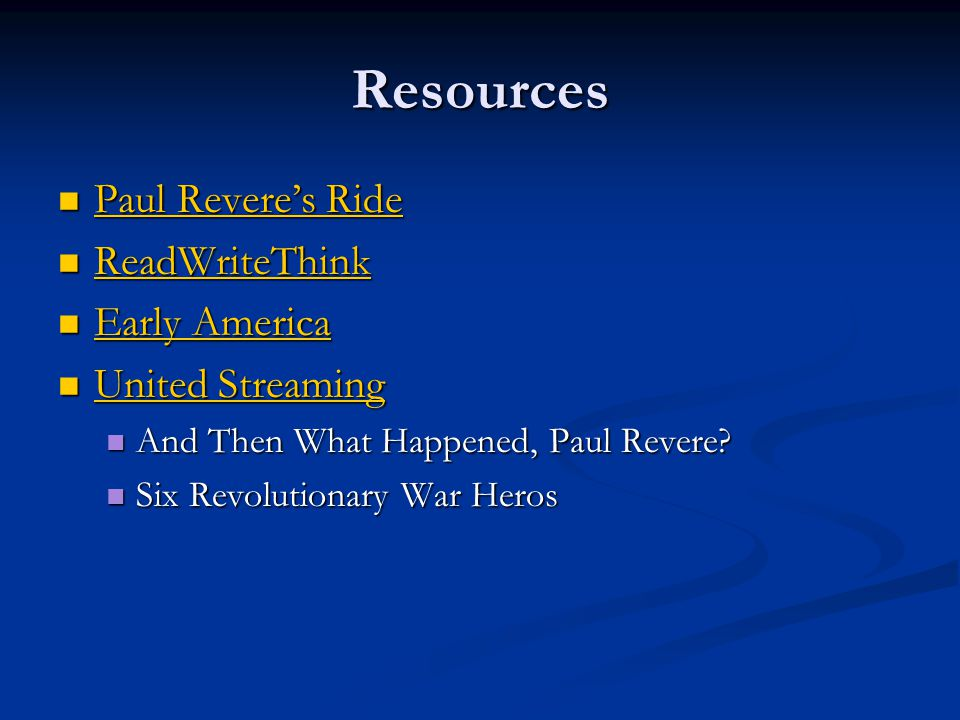 Resources Paul Revere's Ride ReadWriteThink Early America