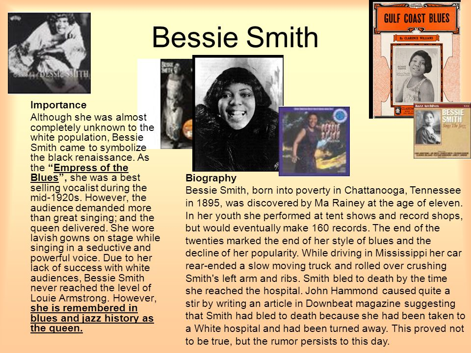 Bessie Smith Importance