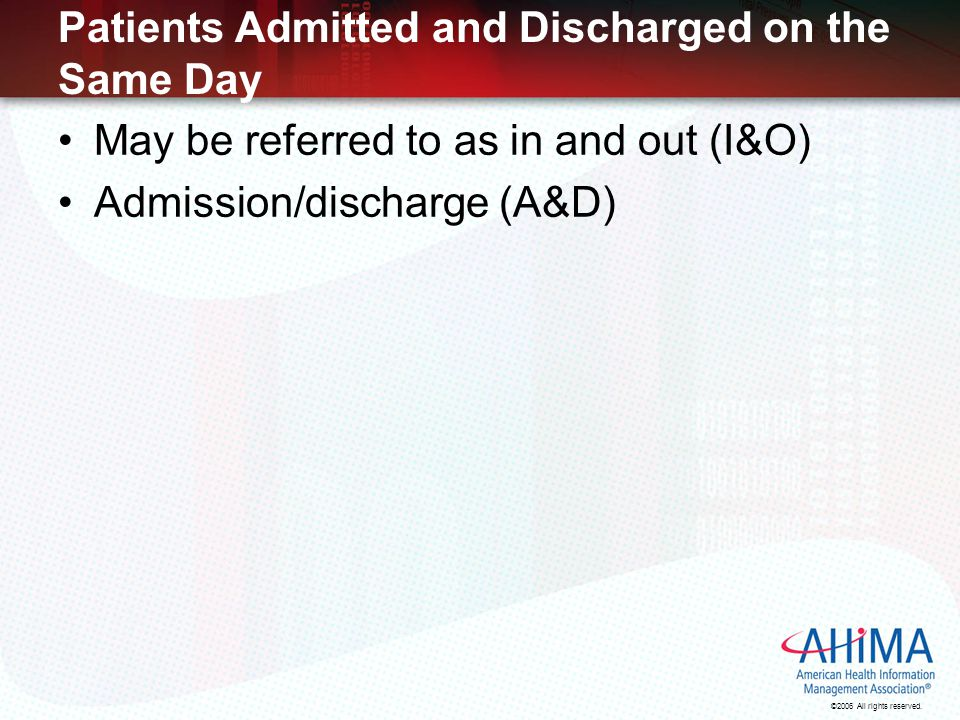 Patients Admitted and Discharged on the Same Day