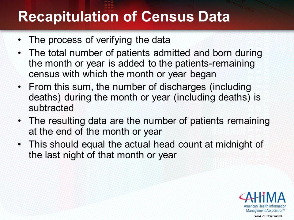 Recapitulation of Census Data