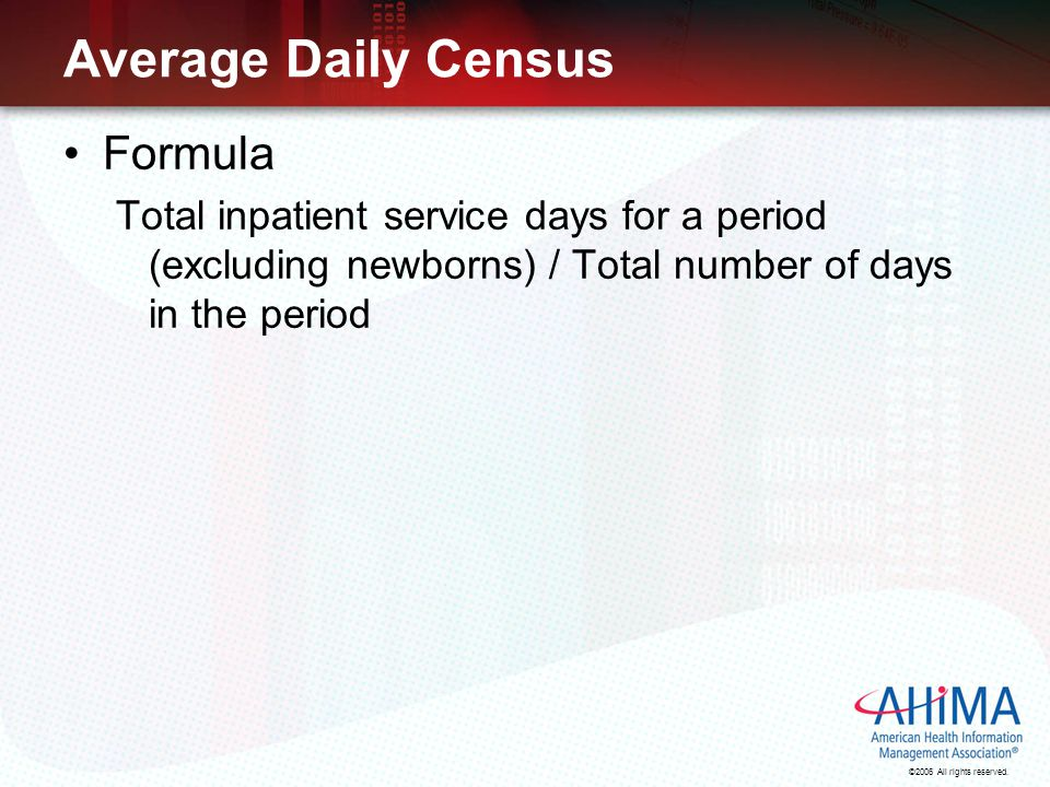 Average Daily Census Formula