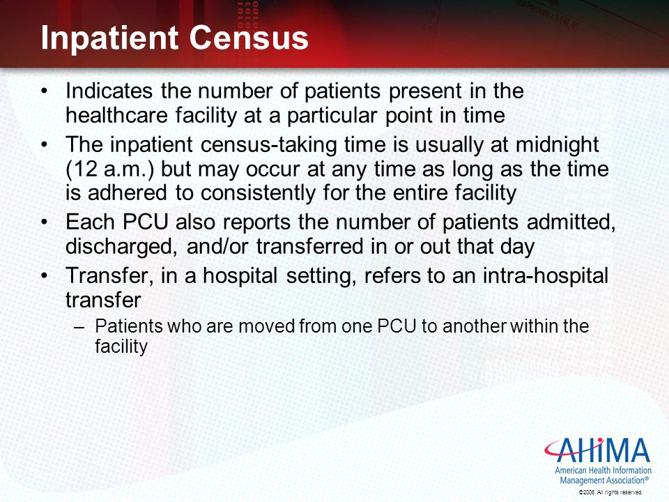 Inpatient Census Indicates the number of patients present in the healthcare facility at a particular point in time.