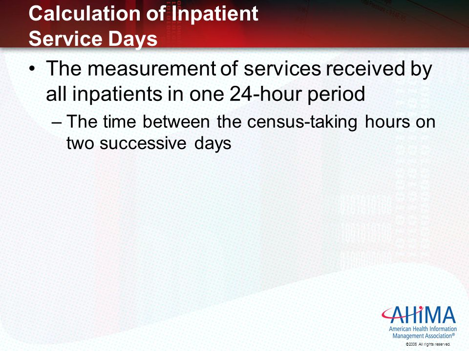 Calculation of Inpatient Service Days