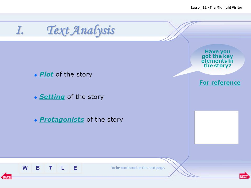 Text Analysis Plot of the story Setting of the story