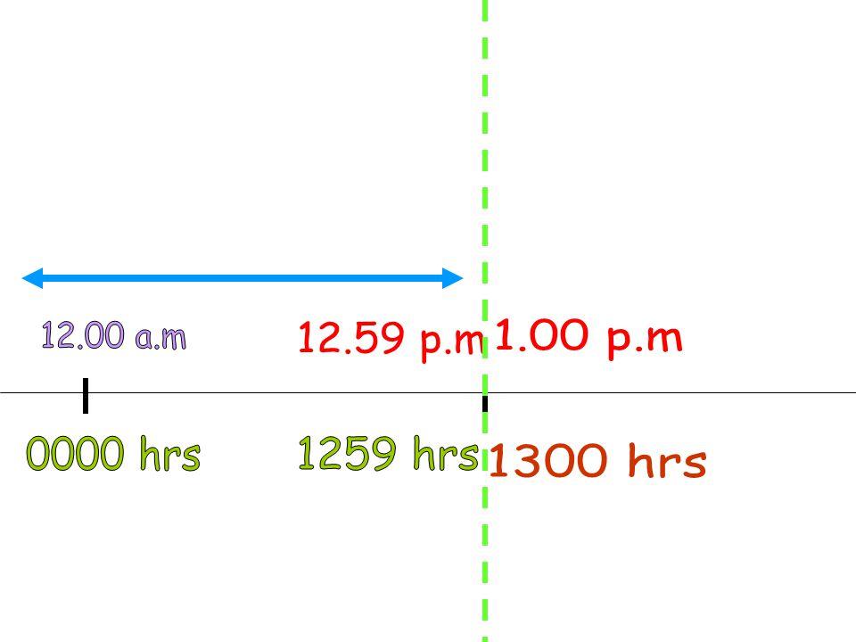 12.00 a.m 12.59 p.m 1.00 p.m 0000 hrs 1259 hrs 1300 hrs