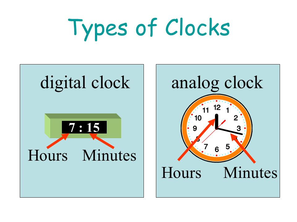 Types of Clocks digital clock analog clock Hours Minutes Hours Minutes