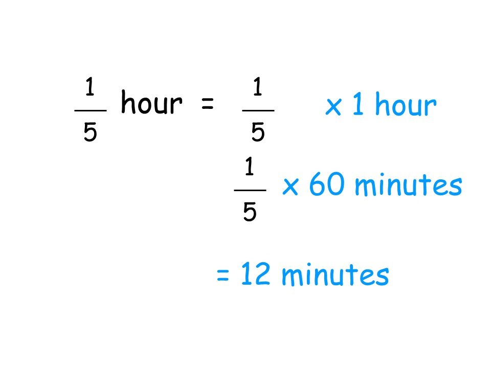 1 5 1 5 hour = x 1 hour 1 5 x 60 minutes = 12 minutes